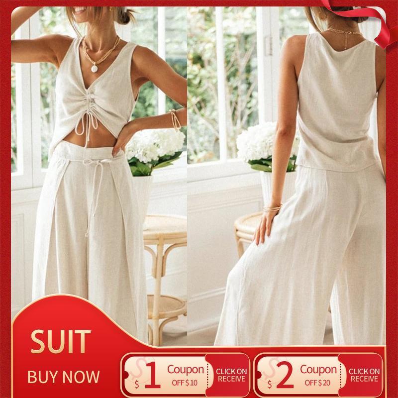 Calças de duas peças femininas 2021 Moda All-Match Solid Color Drawstring Blusa de manga curta Blusa de largura Dividir calças de duas peças