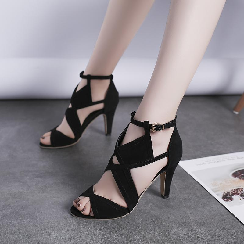 Est tasarım kadın sandalet platformu yaz ayakkabı kadın gladyatör yüksek topuklu dikişli açık parmaklı topuklu elbise kırpılmış