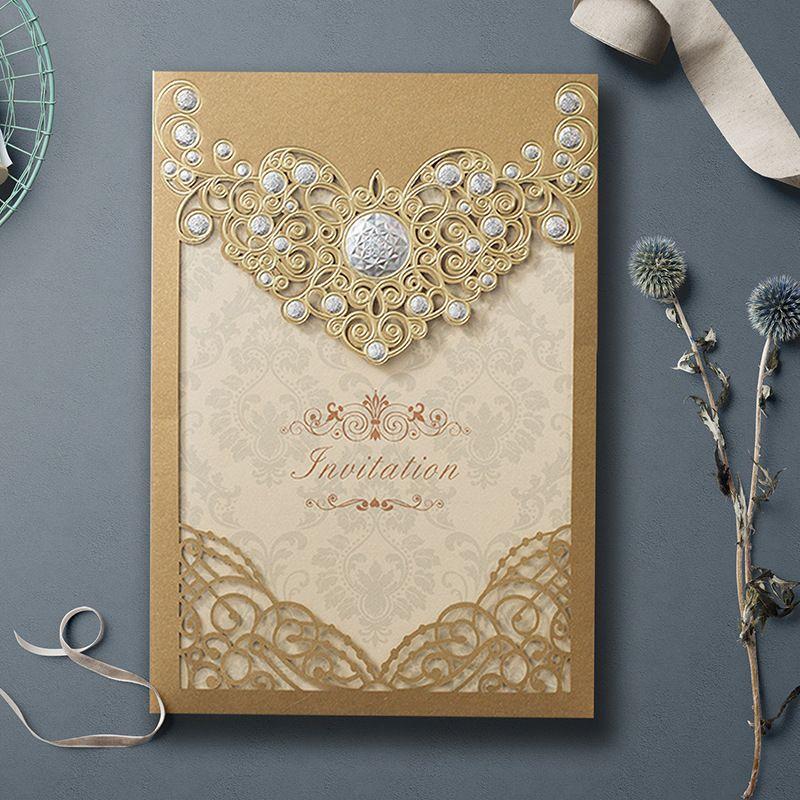 2021 invitaciones de boda Tarjetas de invitación de corte láser de oro COMPROMOTÍCULO DE DUCHA CUMPLEAÑOS DE CUMPLEAÑOS Suministros de fiesta de negocios por DHL