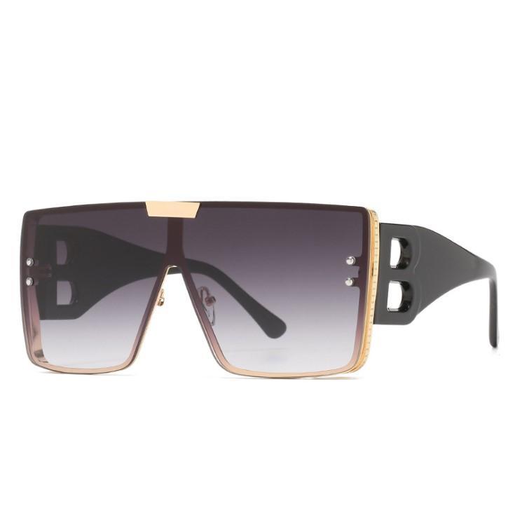 Gafas de sol Summer Man Woman Street Unisex Beach Gafas de sol Moda B Diseño de letra Big Frame UV400 MUY CALIDAD