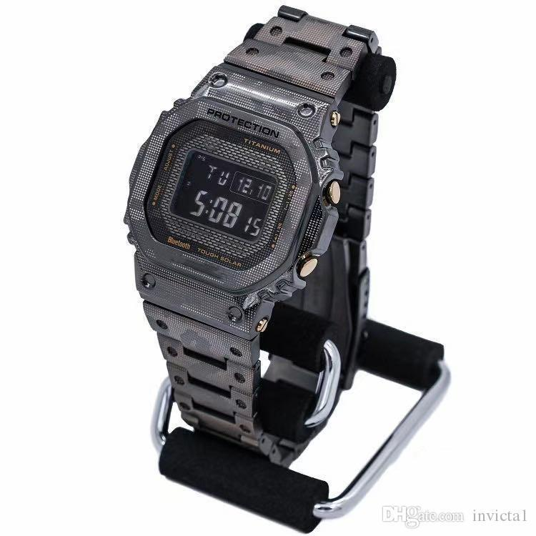 Casual sports men's watch iced out LED digital display electronic camouflage steel belt folding buckle high quality