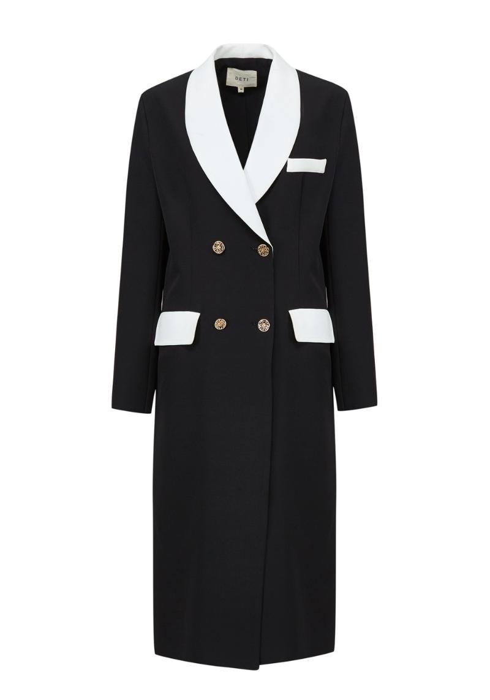 Women's Trench Coats Long Sleeve Lapel Double Breasted Back Split Blazer