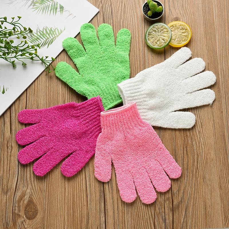 New Exfoliating Bath Glove Five Fingers Bath Bathroom Accessories Nylon Bath Gloves Bathing Supplies Free DHL WX9-435 YK0151