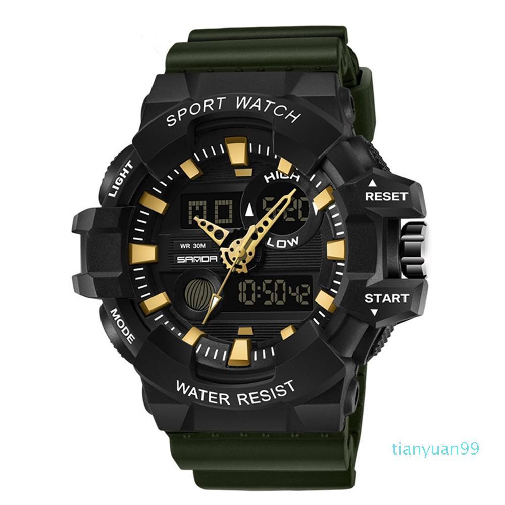 Nova chegada homem homem g estilo esporte relógios 2020 roxo azul two-tone strap choque militar conduzido relógios de pulso luxo mens auto data relógio de alarme