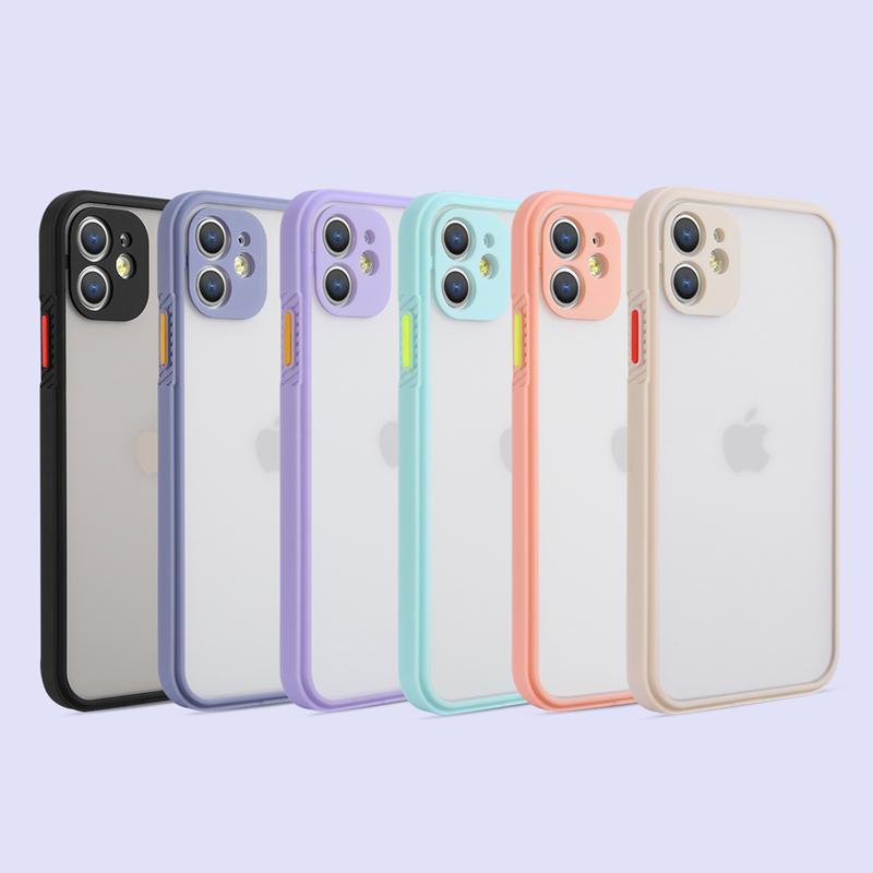 Fashion Matte Telephone Custodie per iPhone 12 11 Pro Max XR XS SE2 6S 7 8 PLUS Copertura protettiva per cellulare Color Contrast Color Shell