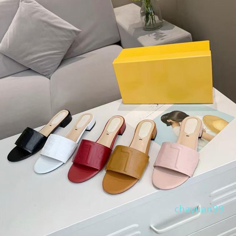 2021 Donne Diamide Swal Sandal Summer in pelle Slides Flats Sexy Letter Sandals Ladies Beach Flip Flops Ladies Comfort Scarpe da passeggio con scatola 271