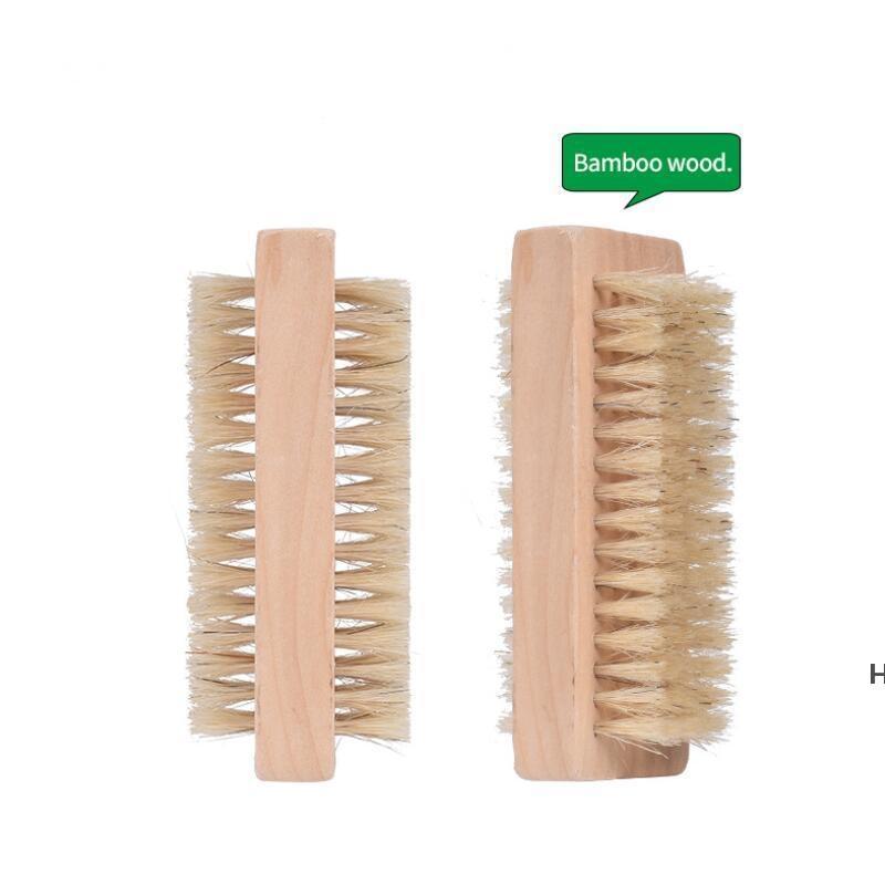 Деревянные щетки для ногтей Двусторонние натуральные кабаны щетины деревянные маникюр двойной поверхности руки очищающие щетка DHD6115