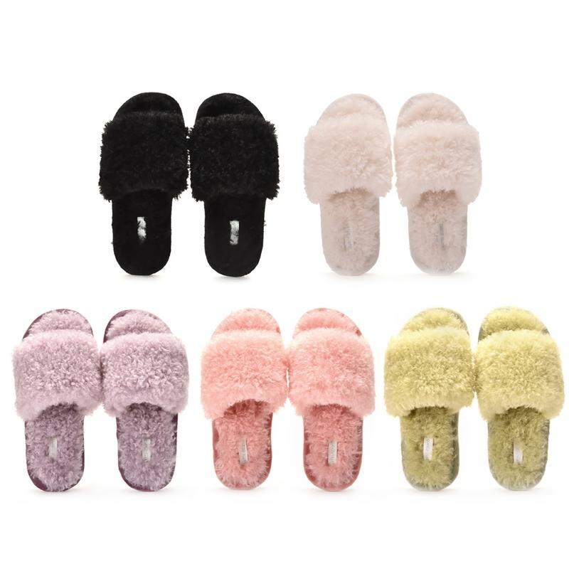 Mujeres de invierno Fuzzy Fluffy Sliplers Slippers Open Toe Color Color Furry Peluche Antideslizante Slip-On House Shoes Sandalias