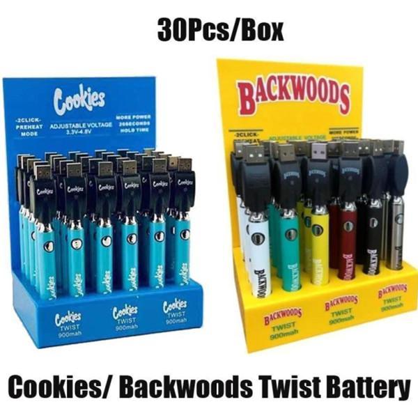 Горячие печенья Backwoods Twist VV-батареи наочитывают нижнее напряжение Регулируемая 900 мАч Vape Pen Cartridge 510 EGO с дисплейной коробкой 30 шт.