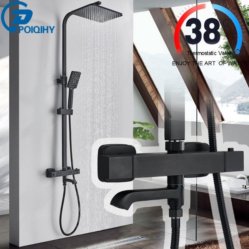 Bathroom Shower Sets POIQIHY Matte Black Thermostatic Set Mixer With Thermostat Faucets And