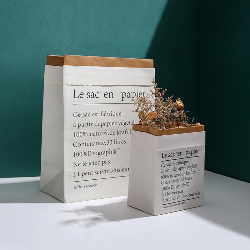 Gift Wrap Kraft Paper Bag Flower Storage For Fake Artificial Flowers Bouquet Dried Handbags Nordic Living Room Decor