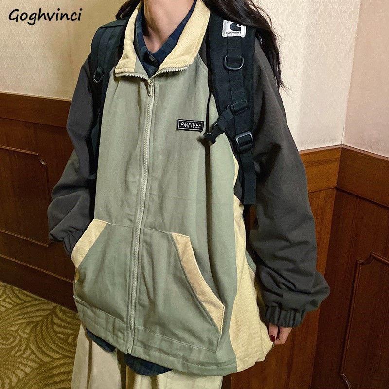 Design Basic Giacche da donna Stand Collare Collare Retro Cargo Cappotti Unisex Baggy Outwear Casual Stile Casual Stile Coreano Adolescenti Zippers Harajuku Trendy Donne
