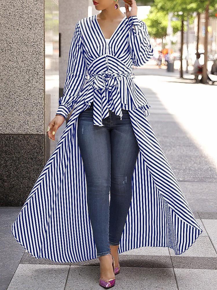 Mode Frauen Elegante Streifen Langes Hemd Bluse Kleidung V-Ausschnitt Verband Hülse Tops Tunika Kurve Bottom Frauen Blusen Hemden