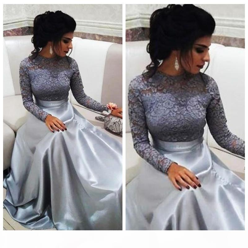 Modest Lace Dresses Evening Wear 2018 Long Sleeves A Line Sweep Train Formal Vestidos De Fiesta Prom Party Gowns
