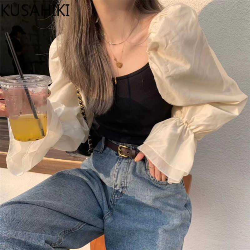 Gestrickte Patchwork Puff Langarm Blusen Frauen Koreanische Quadrat Kragen Hemd Frühling Sommer Slim Short Tops 6G297 210603