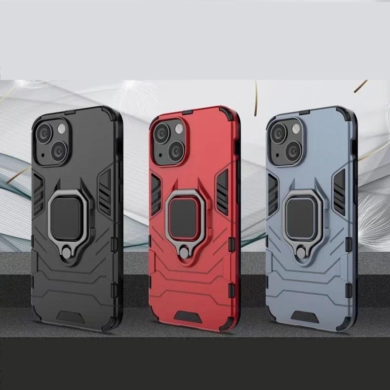 Ringhouder Kickstand Cover Cases Armor Rugged Dual Layer voor iPhone 13 Pro max 12 11 160pcs / lot