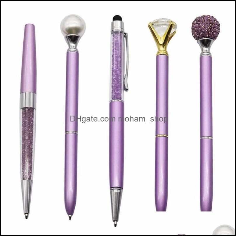 Ballpoint Office Business & Industrialballpoint Pens 5Pcs/Set Purple Diamond Crystal Pen Black Refill Creative Writing Tools Student School