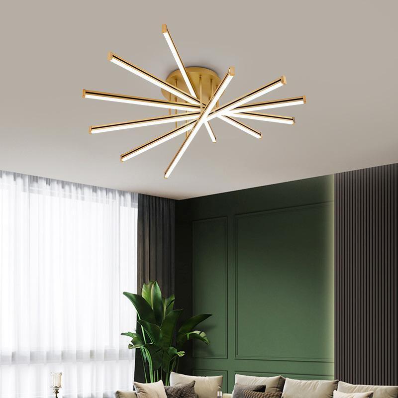 포스트 모드 라이트 럭셔리 미니멀리스트 LED 라인 램프 북유럽 크리 에이 티브 거실 침실 식사 연구 천장 조명 조명