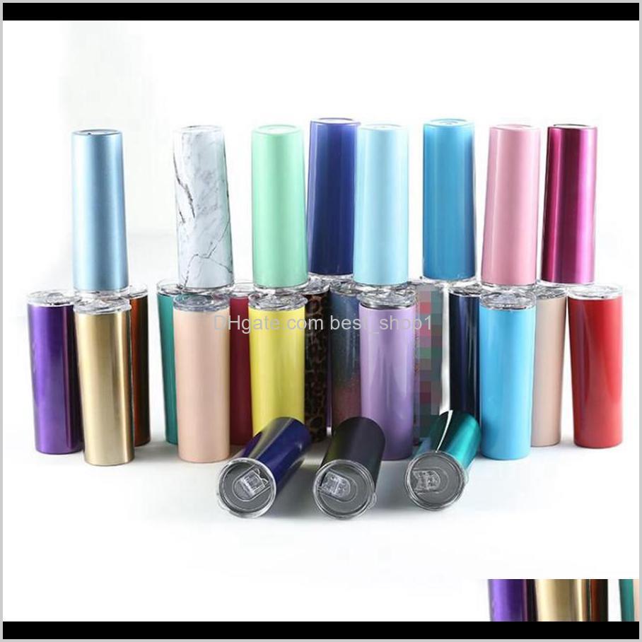 20 Unzen Edelstahl dünnes Tumbler mit Deckel St. Tassen Gerade Tassen Doppelwand Vakuum Isolierte Tasse Wasser Flasche See Eenjd LC0DE