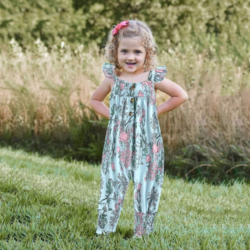 Jumpsuits Sommer Mädchen Kleidung 2021 Kleinkind Baby KidsJumpsuit Ein Stück Blumenband Strampler Outfits 1-6 Jahre Kleidung