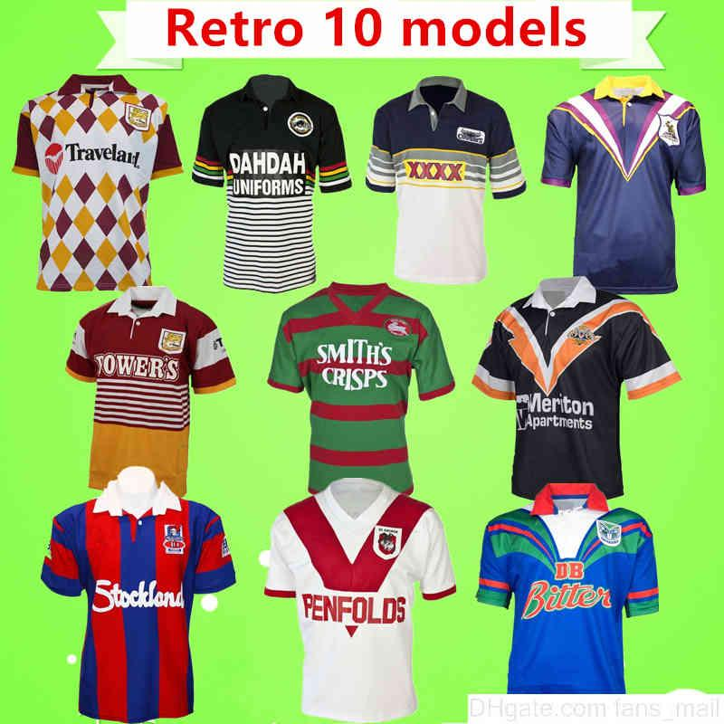 S-5XL Retro Rugby League Jersey Panthers Broncos Knight Warrior Melbourne West Tiger Conejos Cowboys George Classic Vintage Camisa Uniformes