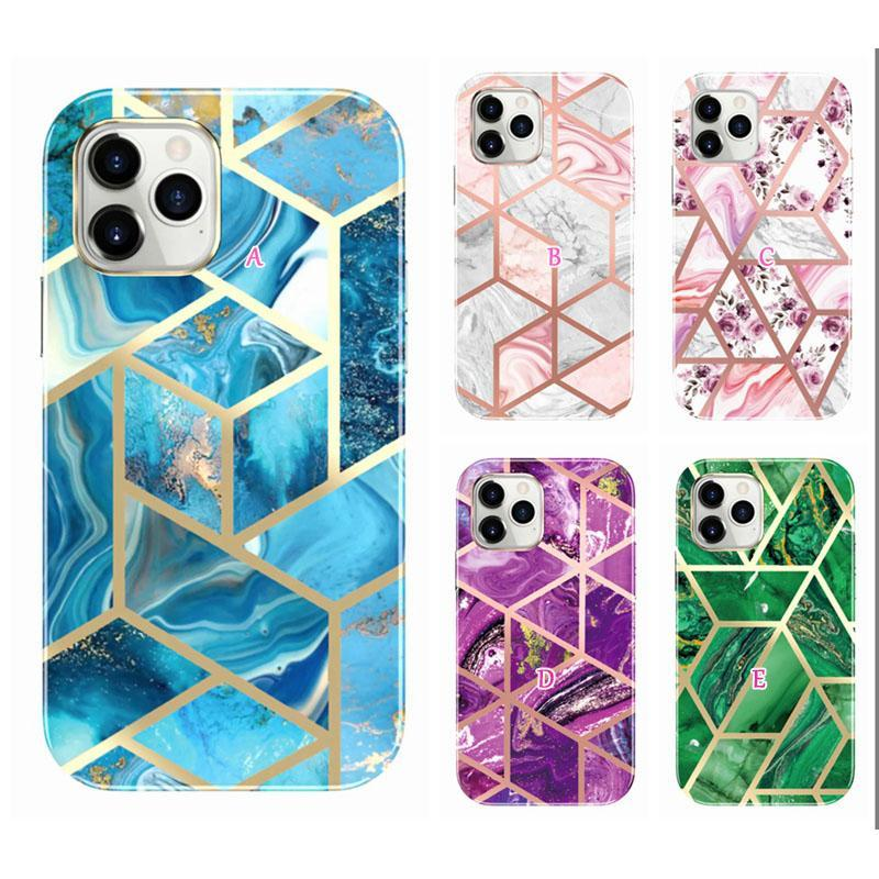 Tempered Glass Screen Protector Metallic Flower Marble Shockproof Cases For Iphone 12 Pro Max 11 8 7 SE2 360 Full Chromed Hybrid Layer IMD TPU Bumper Plating Cover