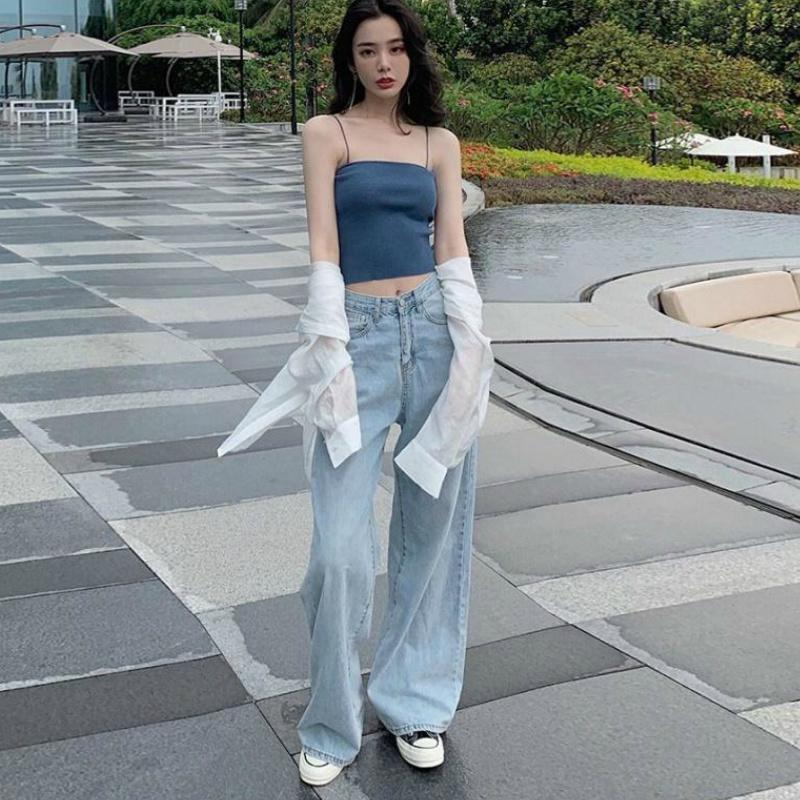 Women's Jeans Wide Leg Pants Loose Oversized Mopping High Waist Casual Womens Korean Streetwear Denim Straight Trousers