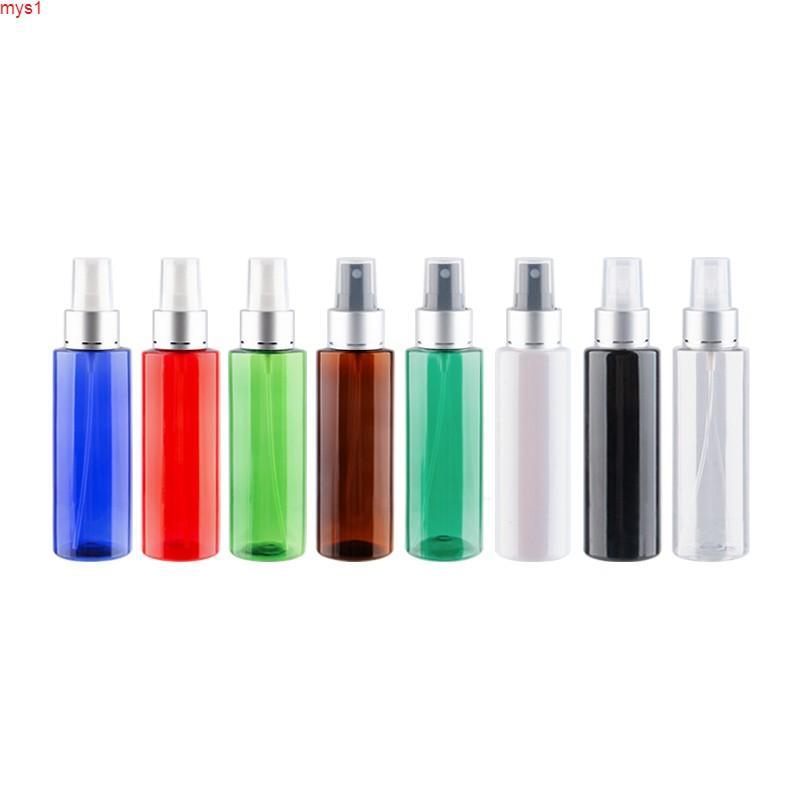 Botella de bomba de espray de la niebla de plástico vacía de 120 ml para el perfume ambientador plateado collar de aluminio cosmético mascota de color contenedores de color cremallera