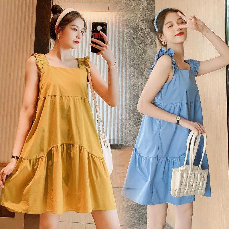 9850# Maternity Clothes Summer Cotton Plain Color Sleeveless Plus Size Loose Stylish Dress Pregnant Women Mom Dresses