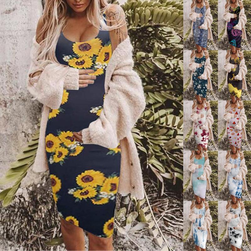 Women's Casual Round Neck Sleeveless Printing Maternity Long Skirt Vest Dress Vestidos Retro Print Party Dresses 2021