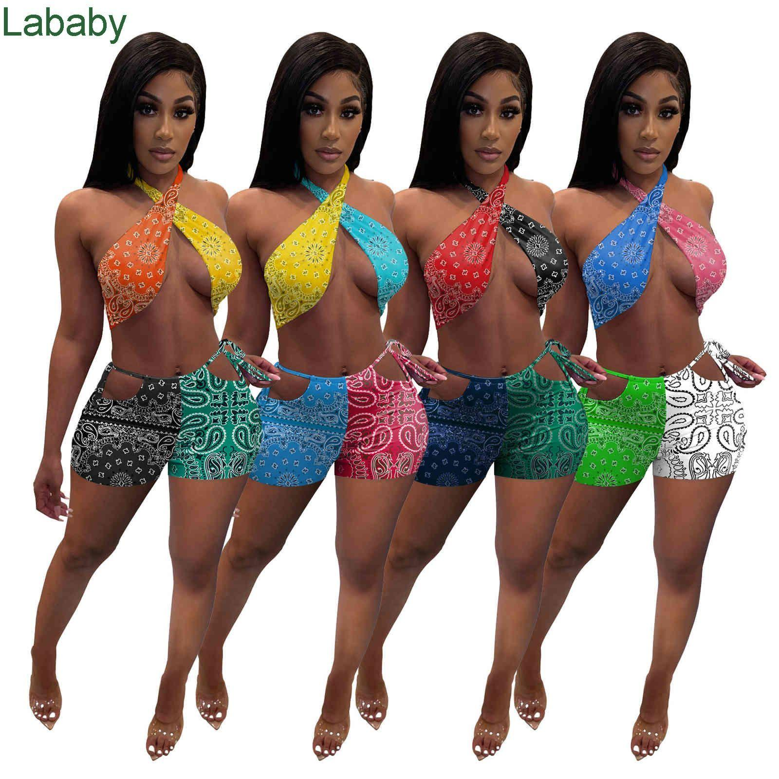 Women Tracksuits Two Piece Set Designer Slim sexy Shorts Outfits Tight Strapless Top Small Bra Shorts Leisure Sports Suit