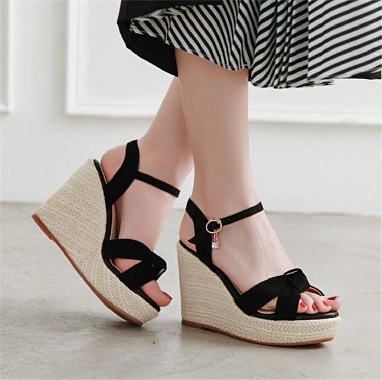 Zapatos Mujeres Sandalias Cuña Tacones Altos Plataforma Abre Toe Faux Suede Bowknot Tobillo Correa Partido Oficina Damas Calzado 34-43