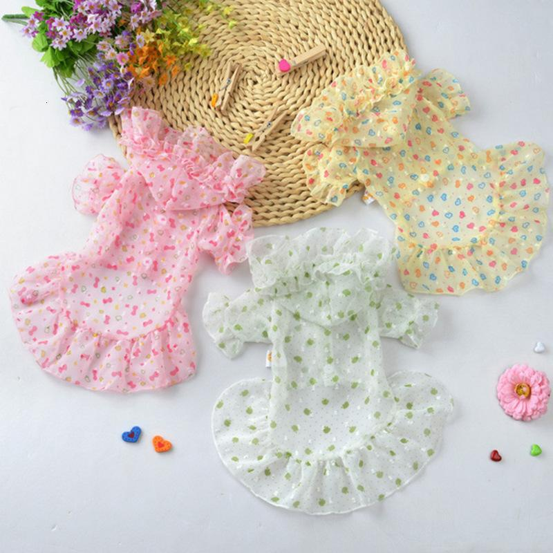 Summer Dog Sunscreen Spring and Thin Breathable Chiffon Lace Dress Pet Clothing