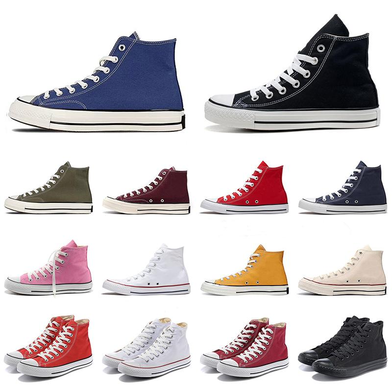 1970'ler Tuval En Kaliteli Platform Koşu Ayakkabıları Erkek Kadın Klasik Tasarımcı Yıldız Siyah Beyaz Lacivert Düz Sneakers 36-44