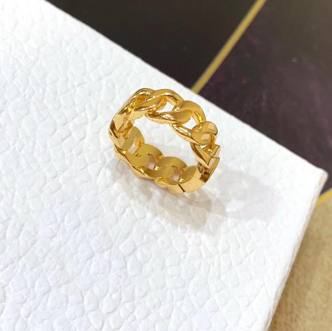 Moda Dorado letra amor anillos bague para lady mujeres fiesta boda amantes regalo compromiso joyería con caja