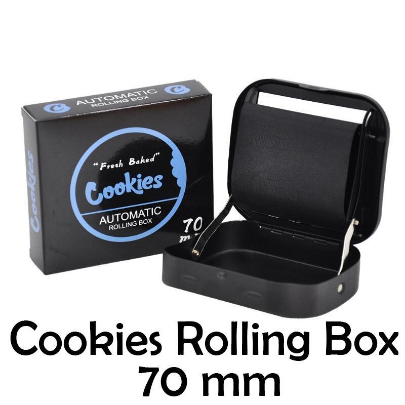 Cookies Metal Cigarette Tobacco Rolling Machine Saco Portátil Caixa de Caixa De Fumadores Para A Bandeja Manual de Papel de Papel 70mm com embalagem de pacote de varejo