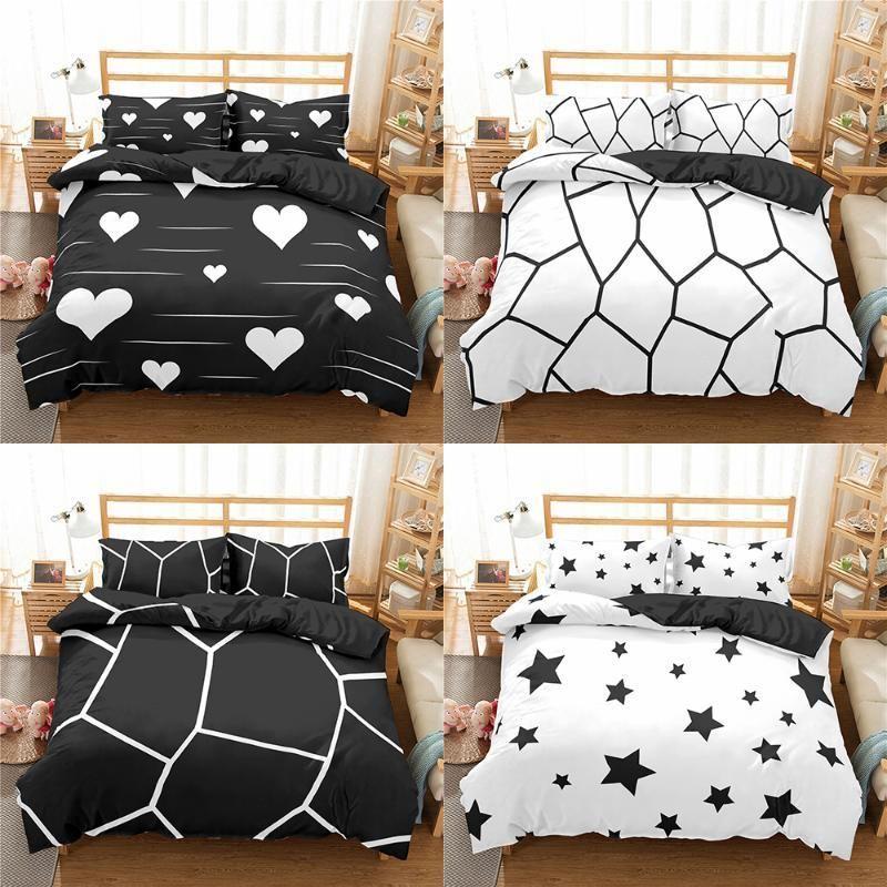 Geometric Bedding Set Marble Pattern Duvet Cover Quilt Pillowcase Bed Linen 2/3pcs Bedclothes Double King Size Sets