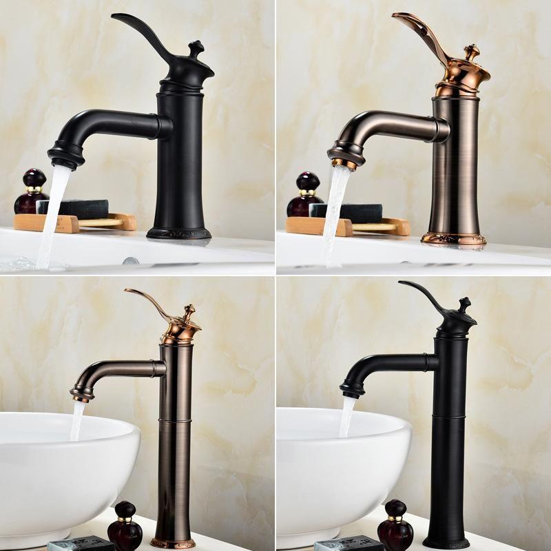 Basin Faucets Black Brass Retro Bathroom Sink Mixer Taps Deck Mounted Single Holder Swivel Spout Faucet Torneira Mci