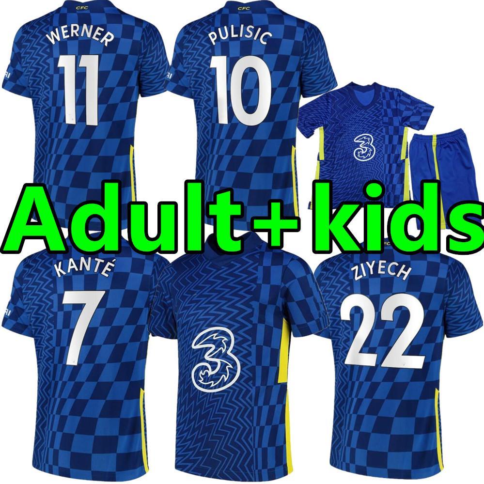 2122 Futbol Formaları Pulisic Ziyech HAVERTZ KANTE WERNER Abraham Chilwell Dağı Jorginho Giroud Eşofman Ev Mavi Futbol Gömlek 4th Erkekler Çocuk Seti Kitleri Çorap