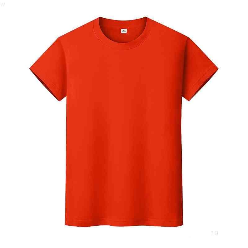 Nueva camiseta de color sólido de cuello redondo Camisa de fondo de algodón de verano de manga corta para hombre y mujer de manga corta Bnboio