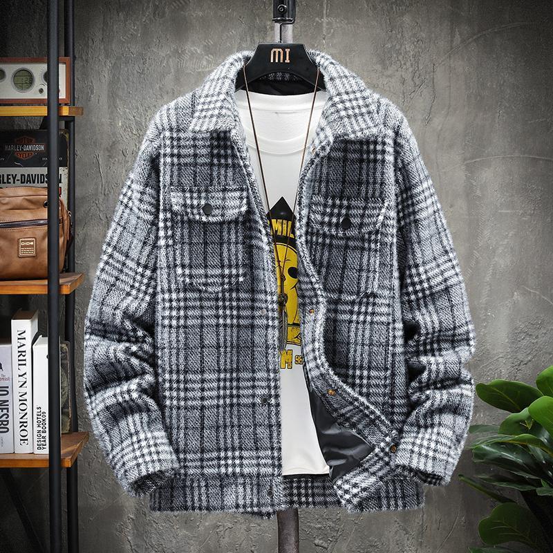 Miscele di lana da uomo 2021 abbigliamento da marca moda uomo slim fit inverno wind plaid giacca casual maschio tempo libero business cappotto di lana plus size S-4