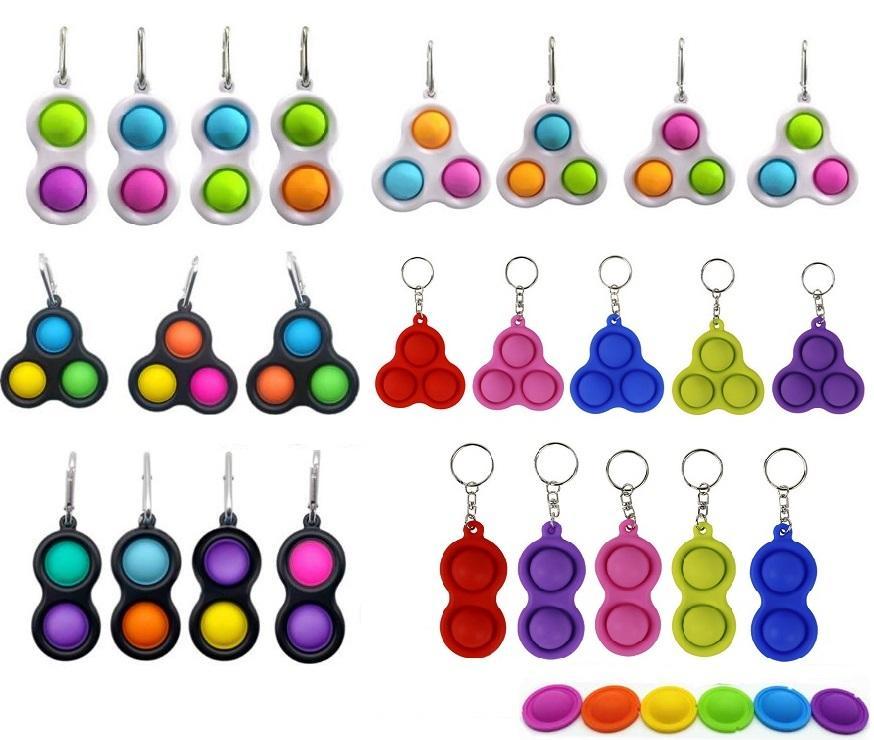 50pcs 푸시 거품 키 체인 키즈 소설 Fidget Keychains 간단한 딤플 장난감 팝 IT 키 홀더 반지 가방 펜던트 감압 장난감 선물