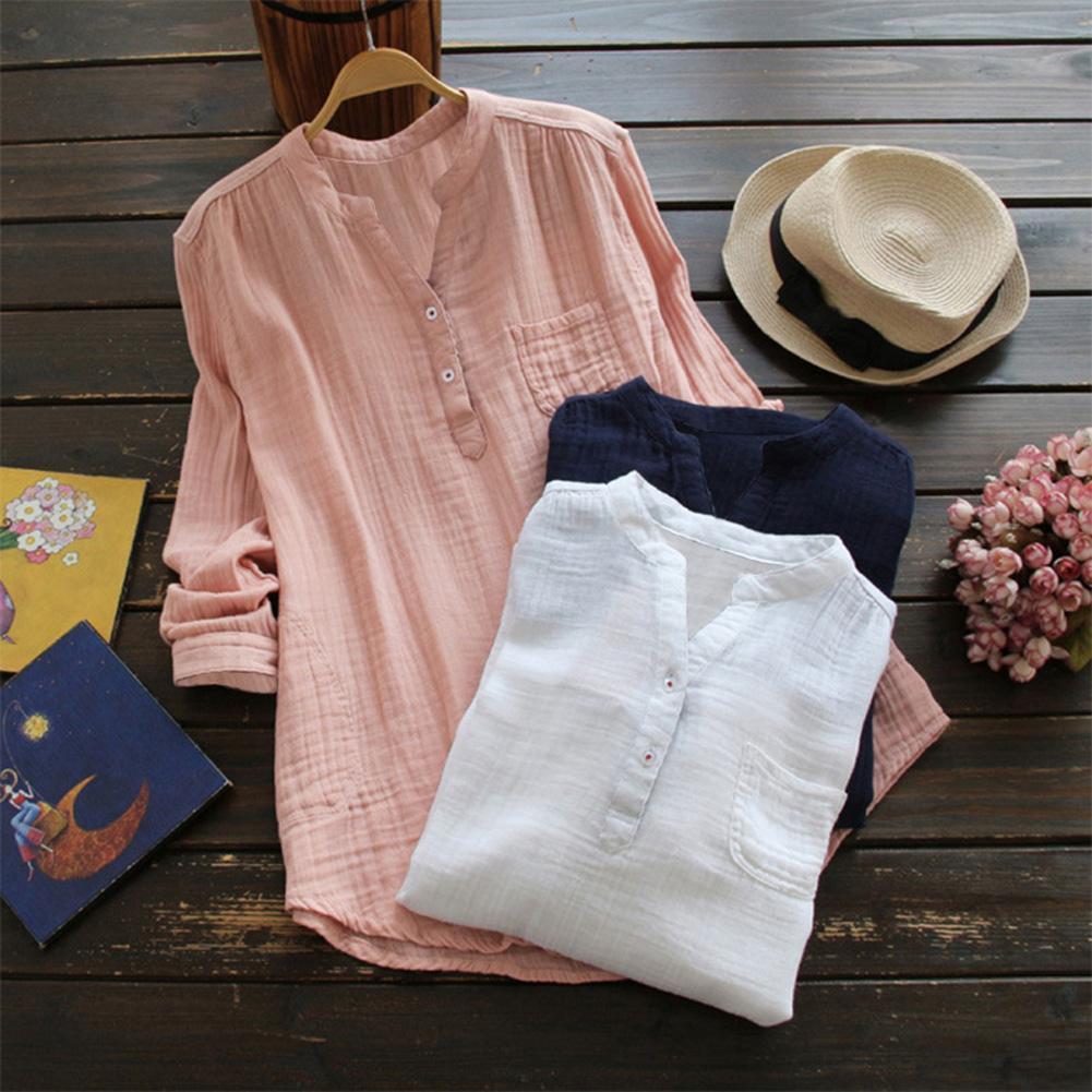 Плюс размер женской сплошной повседневной блузки Новая ранняя осень с длинным рукавом рубашки V-образным вырезом Винтаж ретро дамы свободные вершины одежды