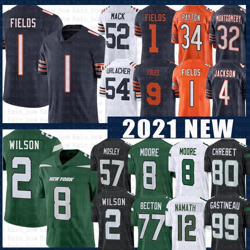 "Justin Fields 1 Zach Wilson Jersey Football Khalil Mack Elijah Moore New Chicago ""Bears"" York ""Jets"" Mosley Mekhi Becton Eddie Jackson Namath Butkus Payton"