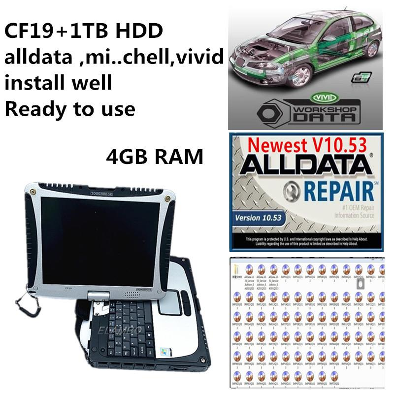 1TB HDD Laptop alldata 10.53 Mit OD repair soft-ware Vivid Workshop data installed in CF19 4GB ready to use