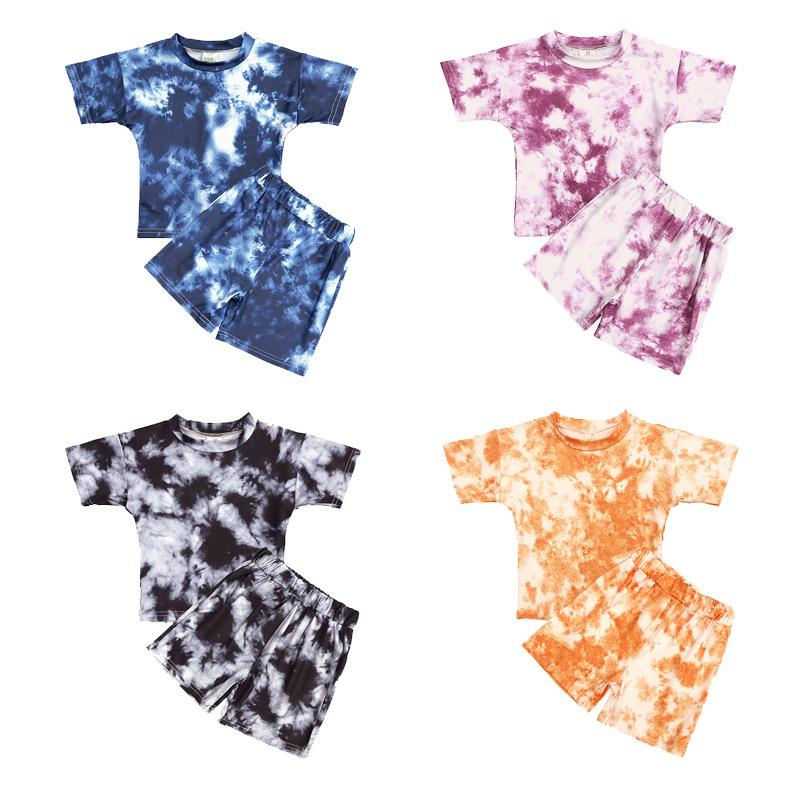 Kt ins baby дети девушки мальчики галстук умерли ребристые хлопчатобумажные костюмы с коротким рукавом топы шорты 2 шт. Летние дети девушки одежда наборы 721 x2