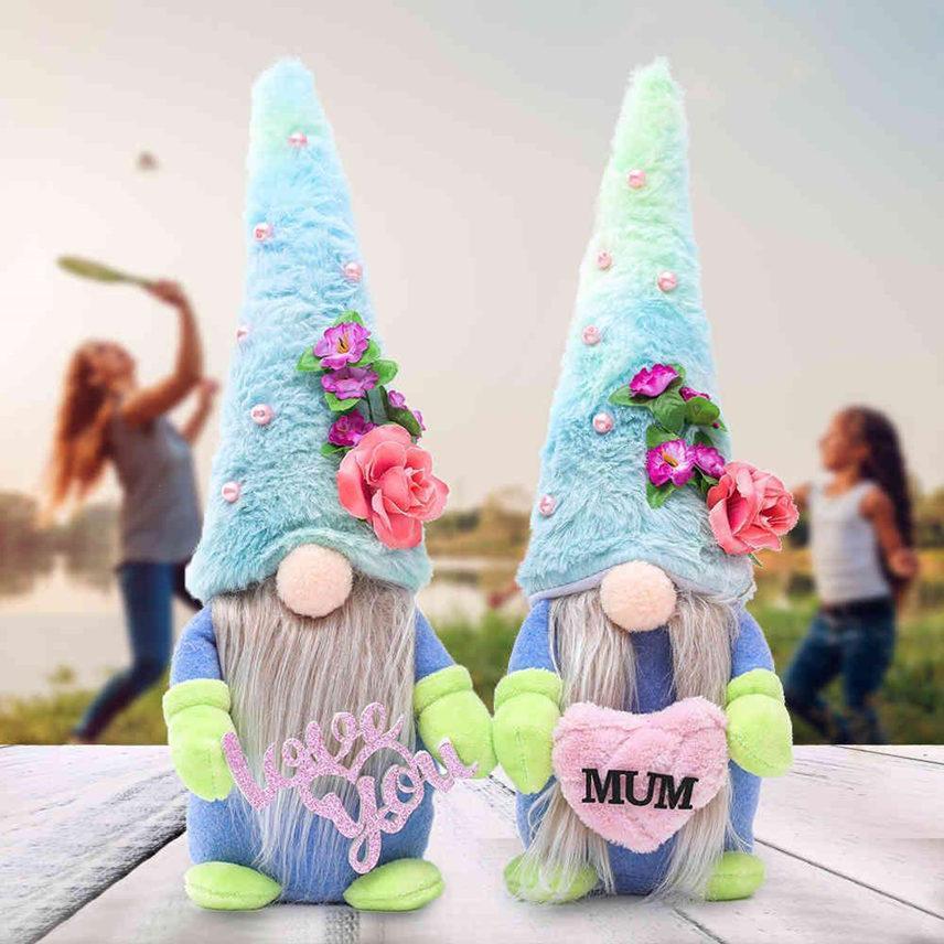 DHL 2021 anneler günü el yapımı yüzsüz bebek peluş karikatür cüce mavi şapka rudolph aşk seni seviyorum mum peluş bebekler gnome parti hediyeler dekorlar
