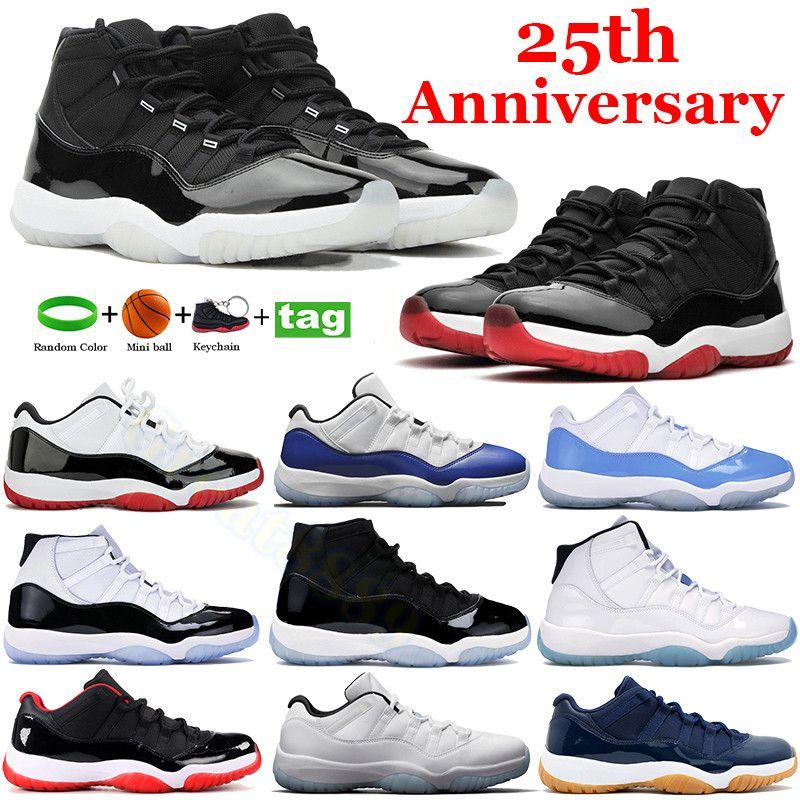 High Fashion 25th Anniversary 11s 11 Scarpe da basket Concord 45 Spazio marmellata Legenda Blu Bianco Blured Snakers Sneakers Navy Uomini Donne formatori