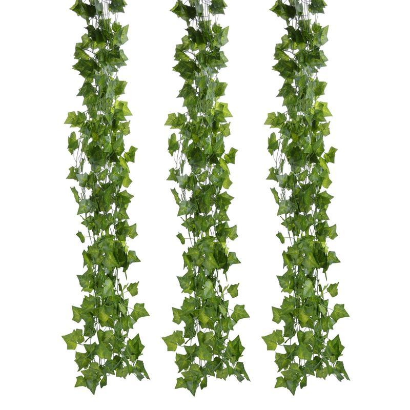 FunPa 12 Branch 6.89Ft Artificial Ivy Silk Fake Hanging Vine Plant Leaves Garland For Wall Decoration Artificial Pant