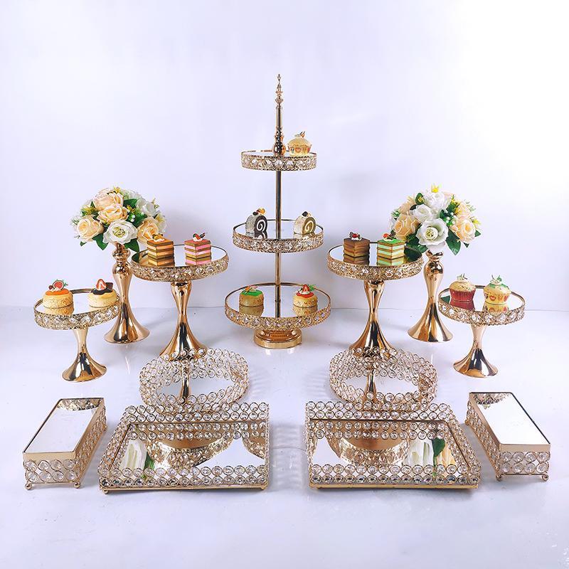 3 قطع-13 قطع كعكة حامل مجموعة علبة جميلة 3 الطبقة الذهب كب كيك الحلوى عرض أدوات الديكور الزفاف كريستال الاكريليك مرآة خبز أخرى